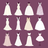 Wedding bride dress vector different edsign Stock Images