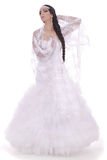 Wedding bride dressed in white dress Stock Photos