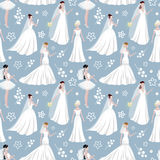 Wedding bride girl character seamless pattern background. Happy celebration new family day.  Stock Photo