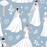 Wedding bride girl character seamless pattern background. Illustration Stock Photo