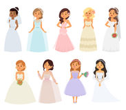 Wedding bride girl characters vector Royalty Free Stock Photos