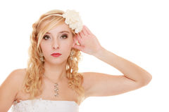 Wedding. Bride girl with hand behind ear listening Royalty Free Stock Photography