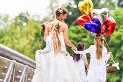 Wedding Bride in gown with bridesmaid Royalty Free Stock Photos