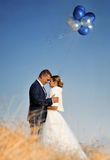 Wedding. Bride and Groom with balloons Royalty Free Stock Photos