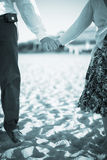Wedding bride and groom in beach marriage Stock Images