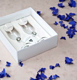 Wedding - Bride and Groom Champagne Glasses. Couple of Wedding Bride and Groom Champagne Glasses in a Paper Box with Purple Butterflies on Beige Background Royalty Free Stock Photography