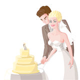 Wedding, the bride and groom cut the cake. Sweet wedding, a happy smiling beautiful blond bride in the veil and white dress with groom cut a big cake,  on a Stock Photo