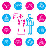 Wedding, bride and groom flat icons set Stock Images
