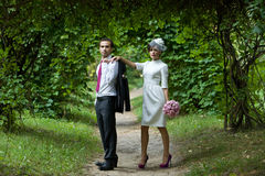 Wedding. Bride and groom in the garden on a summer evening. Royalty Free Stock Photos