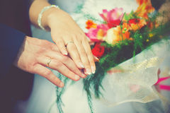 Wedding, the bride and groom hand in engagement rings Stock Image