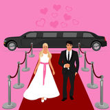 Wedding, bride and groom, limousine, flat design, vector illustration Stock Image