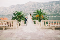 Wedding bride and groom in picturesque scenery Stock Photo