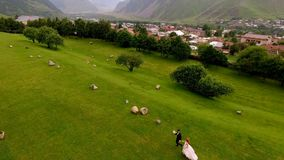 Wedding. The bride and groom are run along the green grass against the backdrop of the mountains