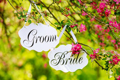 Wedding bride and groom signs hanging Stock Image