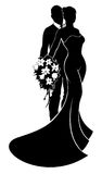 Wedding Bride and Groom Silhouette. Wedding couple bride and groom in silhouette, the bride in a bridal dress gown holding a floral bouquet of flowers Royalty Free Stock Photography