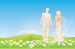 Wedding - bride and groom - spring meadow Royalty Free Stock Photography