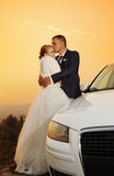 Wedding. Bride and Groom at sunset stock photo