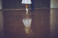 Wedding, the bride and groom on a walk. Wedding, romantic bride and groom on a walk Royalty Free Stock Image