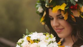 Wedding Bride Holding Bouquet stock footage
