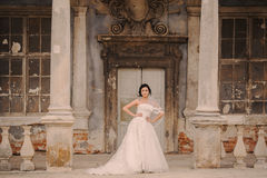 Wedding bride near the castle architecture Royalty Free Stock Photography