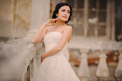 Wedding bride near the castle architecture Royalty Free Stock Images