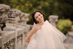Wedding bride near the castle architecture Royalty Free Stock Image