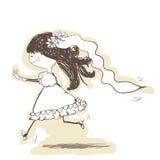 Wedding - bride runs to the groom. Vector illustration -  wedding - bride runs to the groom Stock Photo