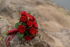 Wedding bride`s bouquet of red flowers roses of color Marsala lies on a log by the lake . wedding background with copy space stock images