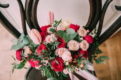 Wedding. The bride`s bouquet. Wedding bouquet . A bouquet of red flowers. Wedding. The bride`s bouquet. Wedding bouquet of red flowers royalty free stock image