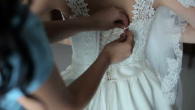 Wedding bride's dress back stock footage