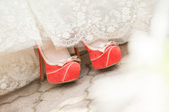 Wedding Bride's Shoes Royalty Free Stock Photo