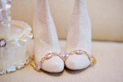Wedding bride shoes Stock Images