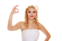Wedding. Bride showing okay ok success hand sign. Stock Photography