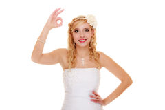 Wedding. Bride showing okay ok success hand sign. Royalty Free Stock Images
