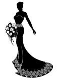 Wedding Bride Silhouette with Bouquet Stock Photos