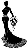 Wedding Bride Silhouette with Flowers Royalty Free Stock Photo