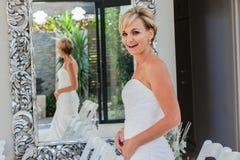 Happy Bride Smiles Mirror Royalty Free Stock Photo