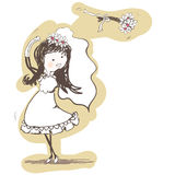 Wedding - bride tossing bouquet behind her. Vector illustration - wedding - bride tossing bouquet behind her Royalty Free Stock Image