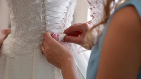 Wedding, bride wears dress, shoes, jewelry. Wedding, bride wears dress shoes jewelry stock video
