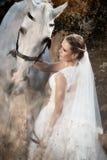 Wedding. Bride with white horse. Stock Photo