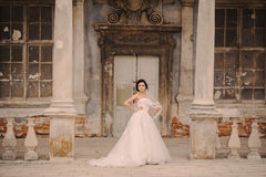Wedding bridenear the castle architecture Royalty Free Stock Images