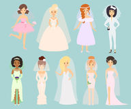 Wedding brides characters vector. Royalty Free Stock Photography