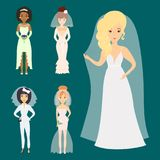 Wedding brides characters vector illustration celebration marriage fashion woman cartoon girl white ceremony dress Royalty Free Stock Images