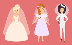 Wedding brides characters vector illustration celebration marriage fashion woman cartoon girl white ceremony dress Stock Photos
