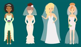 Wedding brides characters vector illustration celebration marriage fashion woman cartoon girl white ceremony dress Royalty Free Stock Photo