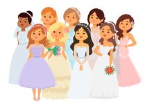 Wedding brides characters vector illustration celebration marriage fashion woman cartoon girl white ceremony marry dress. Wedding brides characters vector Stock Image