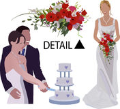 Wedding brides and groom. A bride and groom and another bride vector illustration