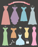 Wedding bridesmaid dress set.Flat design.Bridal. The composition of Different styles of wedding bridesmaid dresses in modern flat vector style.Composition with Stock Photos