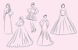 Wedding, bridesmaid, dresses, silhouettes Stock Photography