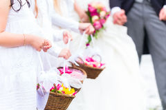 Wedding bridesmaids children with flower basket Royalty Free Stock Photo